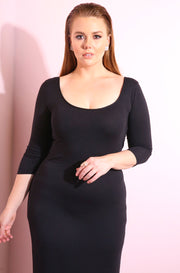 Black Scoop neck, 3/4 sleeve cotton maxi dress plus sizes