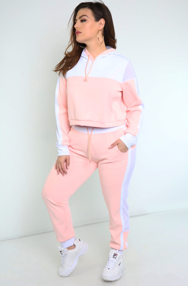 Pink Mesh Detailed Joggers Plus Sizes
