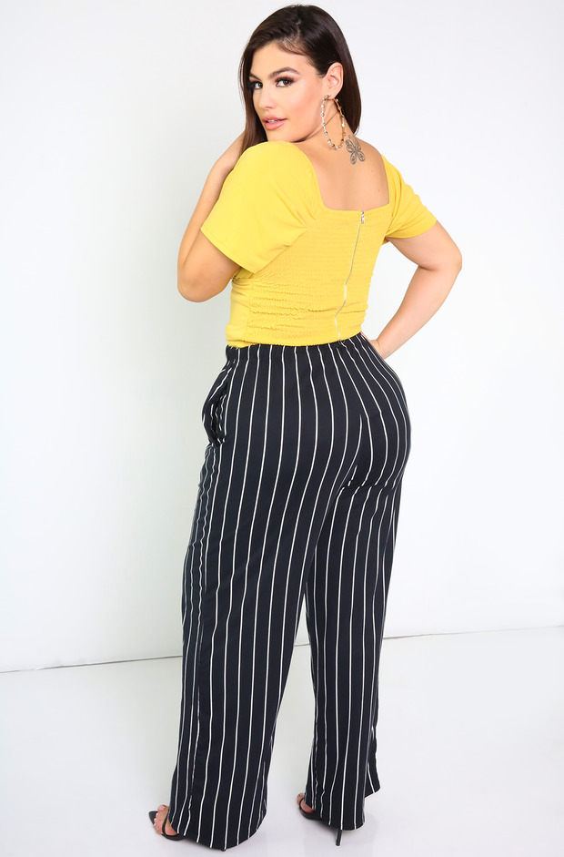 Black Striped Palazzo Pants With Pockets Plus Sizes