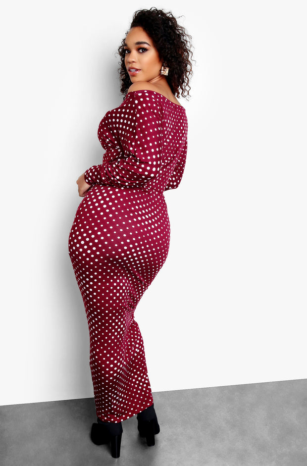 Burgundy Over The Shoulder Polka Dot Long Sleeve Maxi Dress Plus Sizes