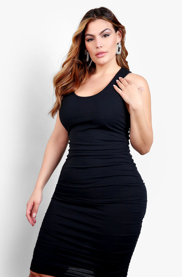 Black Side Ruched Bodycon Midi Dress