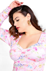Pink Ruched Floral Top Plus Size