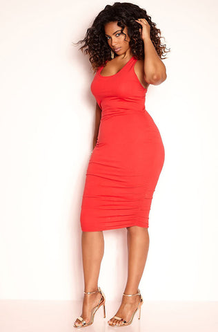 Rebdolls Essential Long Sleeve V-Neck Midi Dress - Red