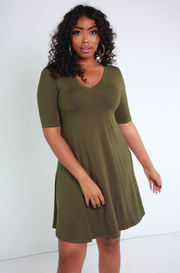 Olive V-Neck T-shirt Dress Plus Sizes
