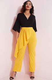 Mustard Ruffled Peplum Pants Plus Sizes