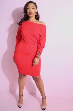 Red Over The Shoulder Bodycon Mini Dress plus sizes