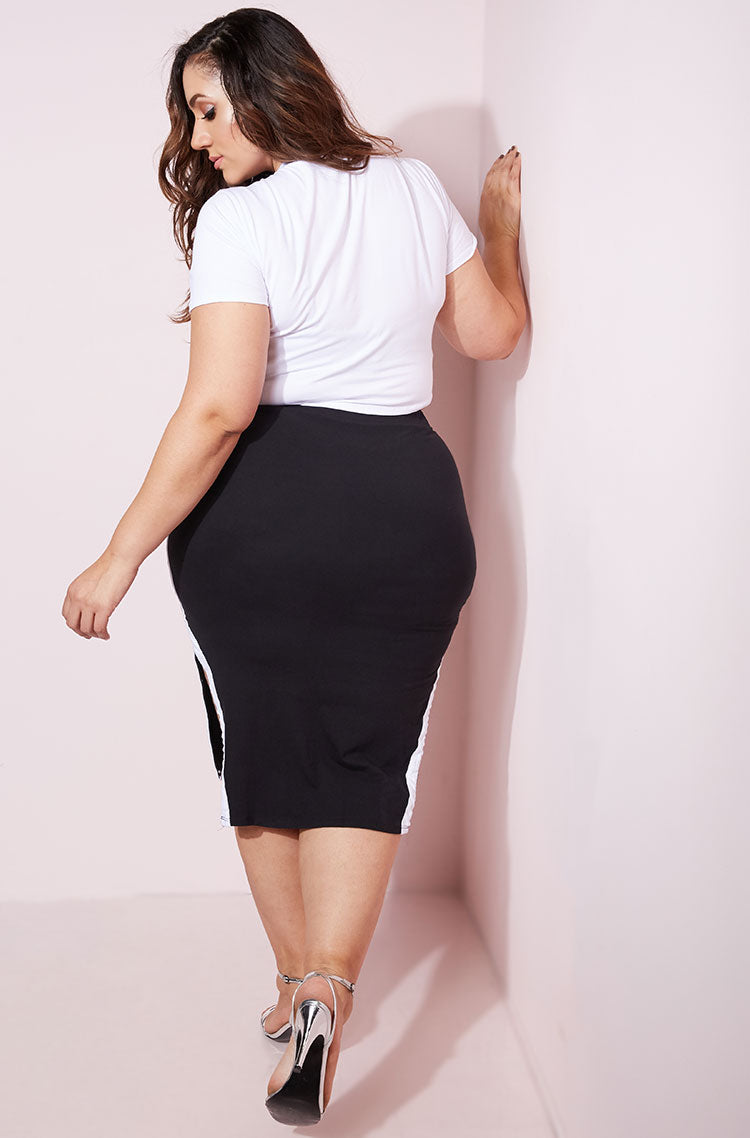 Black Striped Bodycon Midi Skirt Plus Sizes