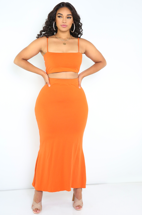 Burnt Orange Strappy Tube Top Plus Sizes