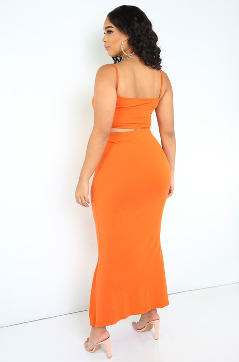 Burnt Orange Bodycon Maxi Skirt Plus Sizes