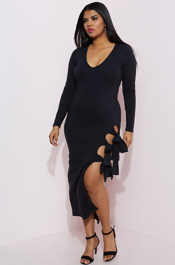 Black Caged Thigh Midi Dress plus sizes