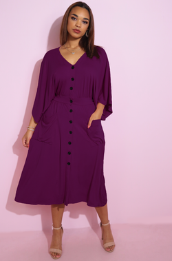Purple Button Down Dress Plus Sizes
