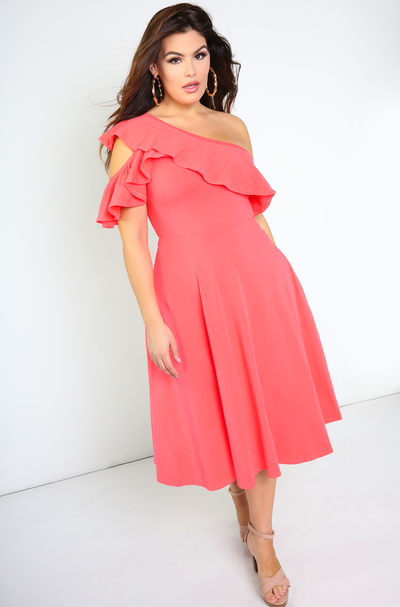 Coral Ruffled Skater Midi Dress Plus Sizes