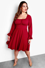 Red Plus Size Puff Long Sleeve Skater Mini Dress