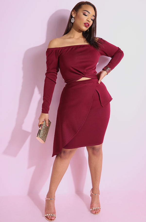 Burgundy Peplum Mini Skirt plus sizes