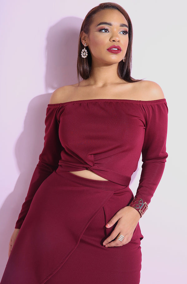 Burgundy Over the shoulder Knotted Crop Top plus sizes