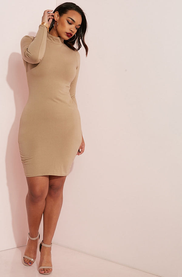 Mocha Turtleneck Bodycon Mini Dress plus sizes