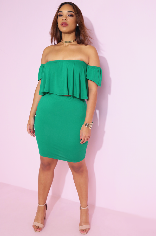 Green Ruffled Top & Bodycon Mini Skirt Set Plus Sizes