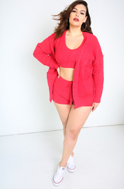 Dark Coral Knitted Teddy Shorts Plus Sizes