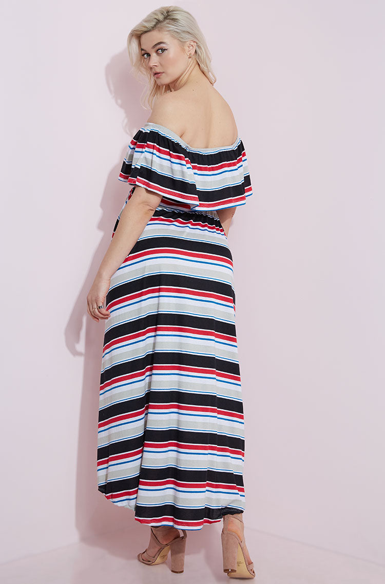 Black Over The Shoulder Skater Maxi Dress plus sizes