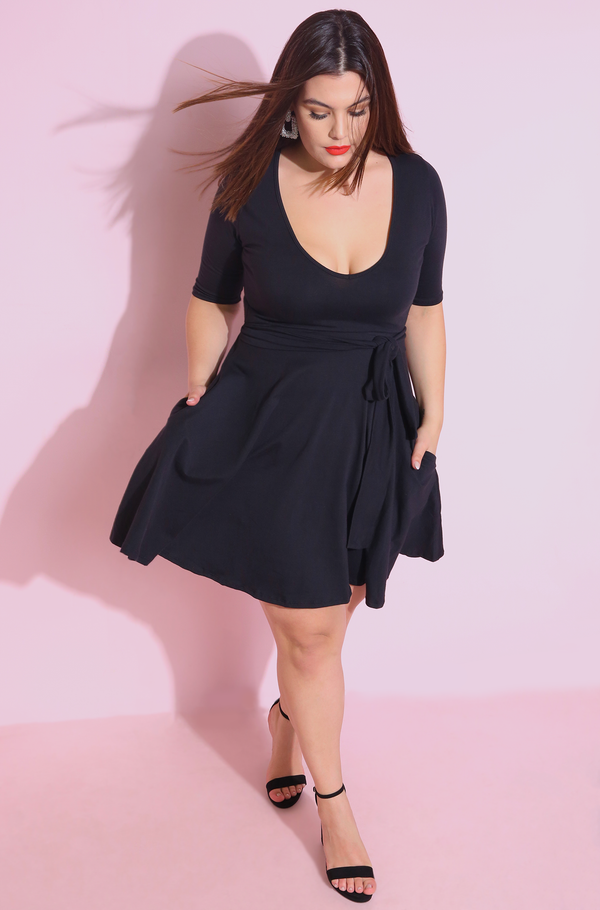 Black V-Neck Skater Mini Dress Plus Sizes