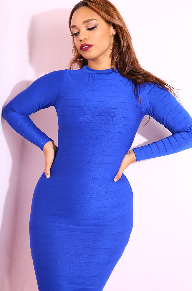 Royal Blue Semi Sheer Bodycon Midi Dress plus sizes
