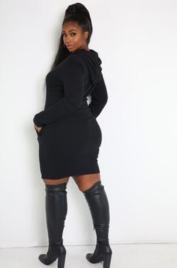 Black Caped Bodycon Mini Dress Plus Sizes