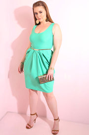 Turquoise draped sleeveless knee length body con midi dress plus sizes