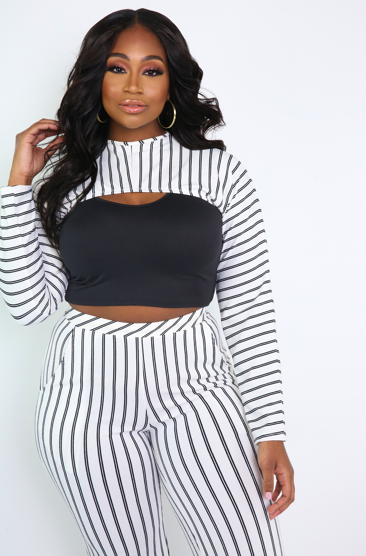 White Long Sleeve Extra Cropped Top Plus Sizes