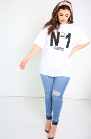 White Oversized Long Top Plus Sizes