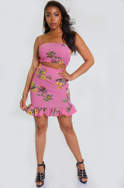Pink Floral & Stripe Print Mini Skirt Plus Sizes