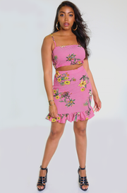 Pink Floral & Stripe Print Tube Top Plus Sizes