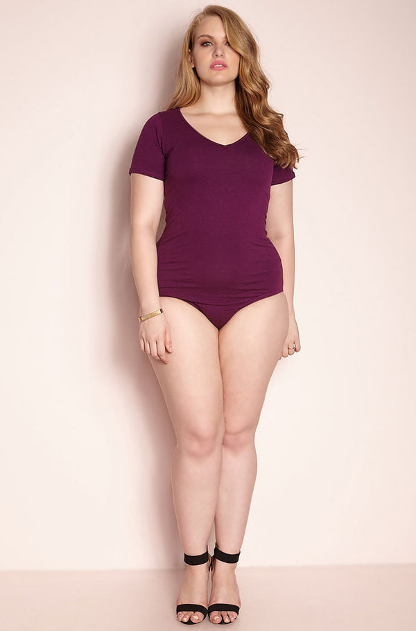 Purple V-Neck BodySuit plus sizes