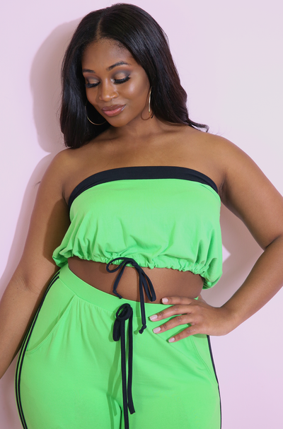 Lime Green Two Tone Crop Top Plus Sizes