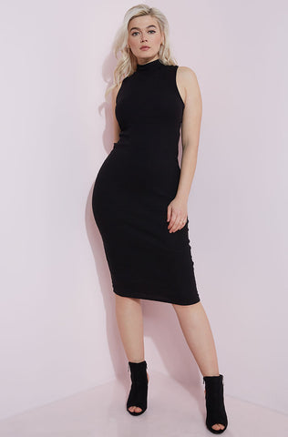 Rebdolls Essential Sleeveless Crew Neck Midi Dress - Black