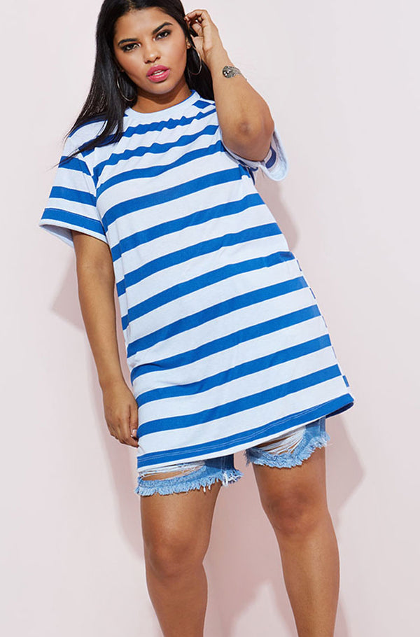 Blue T-Shirt Mini Dress plus sizes
