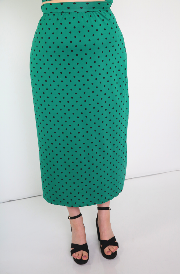Green Polka Dot A-Line Skirt Plus Size