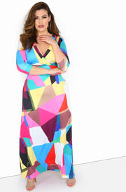 Pink Multi-Color Maxi Dress Plus Sizes