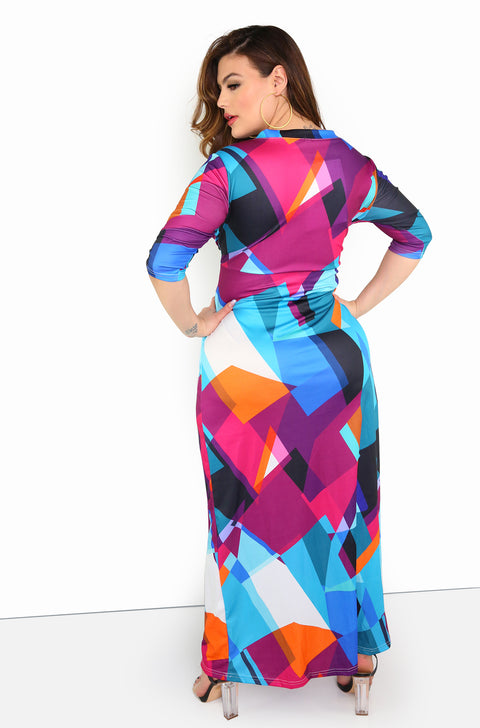 Purple Multi-Color Maxi Dress Plus Sizes