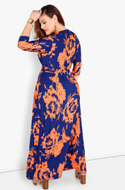 Navy Blue Wrap Maxi Dress Maxi Dress