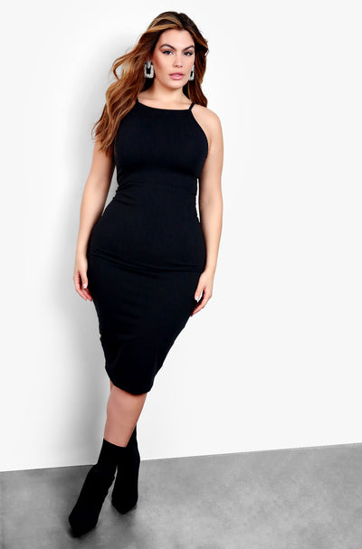 Black High Neck Strappy Bodycon Midi Dress