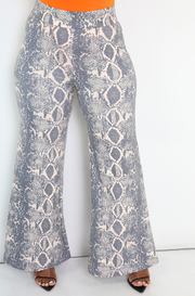 Grey Snake Print Palazzo Pants Plus Sizes