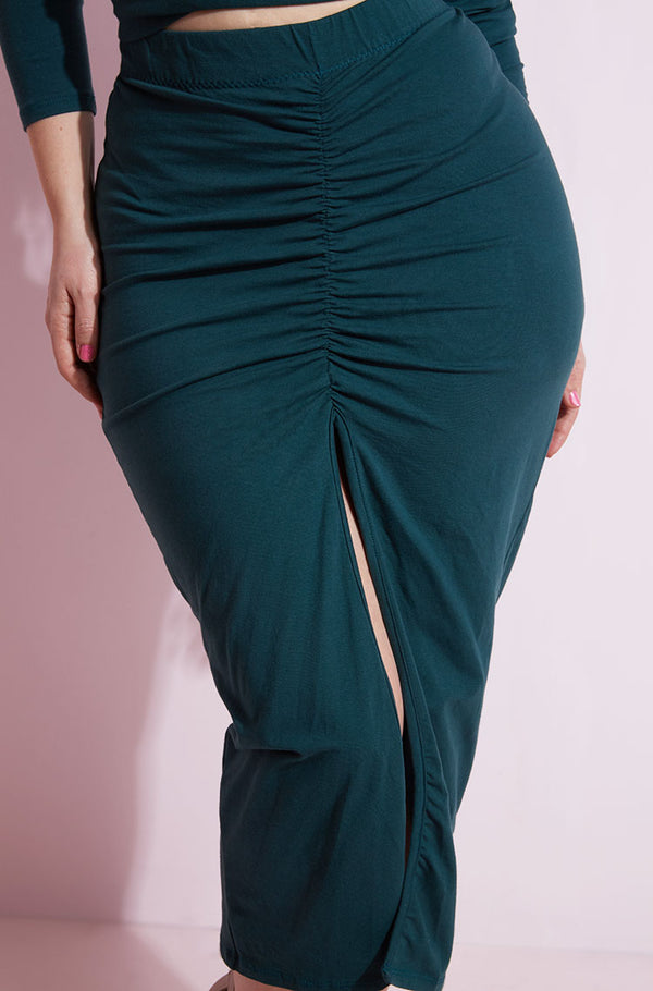 Hunter Green High Slit Skater Maxi Skirt plus sizes