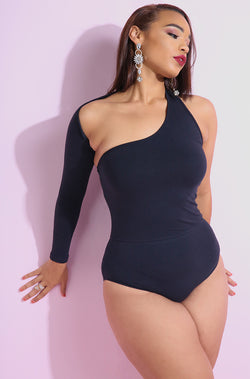 One Shoulder Asymmetrical black bodysuit plus sizes