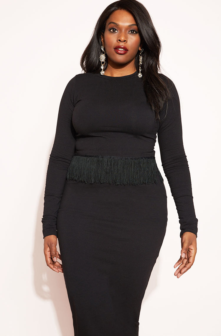 Black Fringe Crop Top plus sizes
