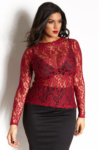 "Rebdolls ""Backlash"" Turtleneck Mesh Long Sleeve Top"
