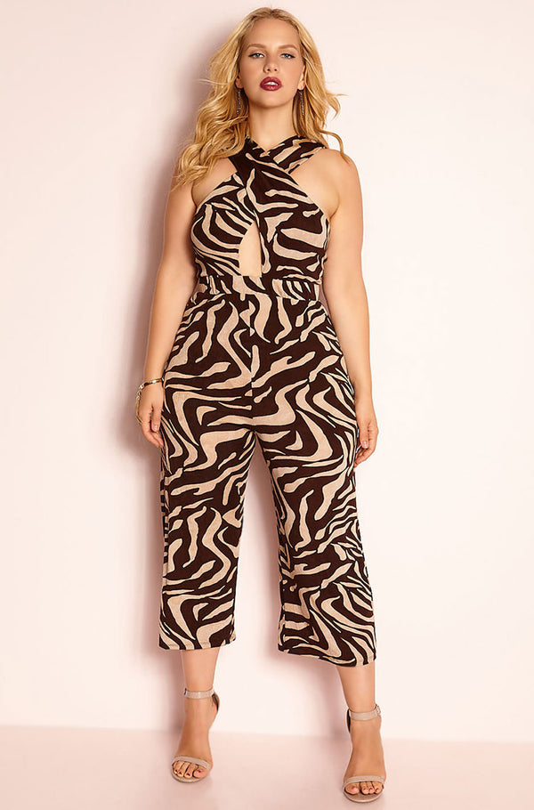 Brown Crossover Jumpsuit plus sizes