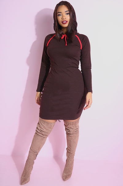 Brown Hooded Mini Bodycon Dress plus sizes