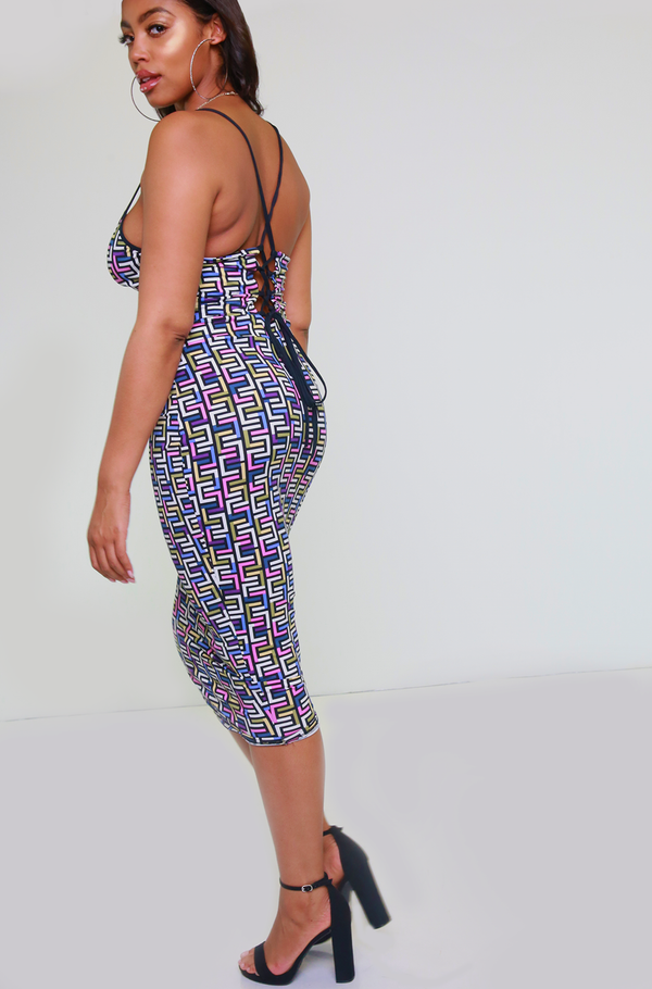 Purple Caged Back Midi Dress Plus Sizes
