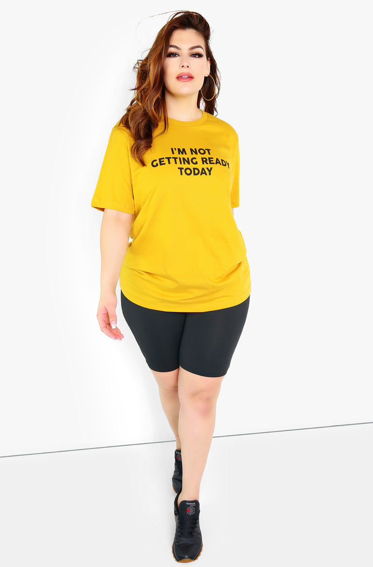Mustard Graphic Crew Neck T-Shirt Plus Size