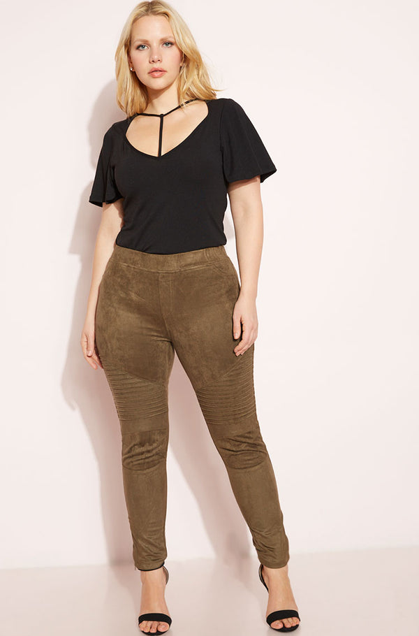 Olive Suede Moto Leggings Plus Sizes
